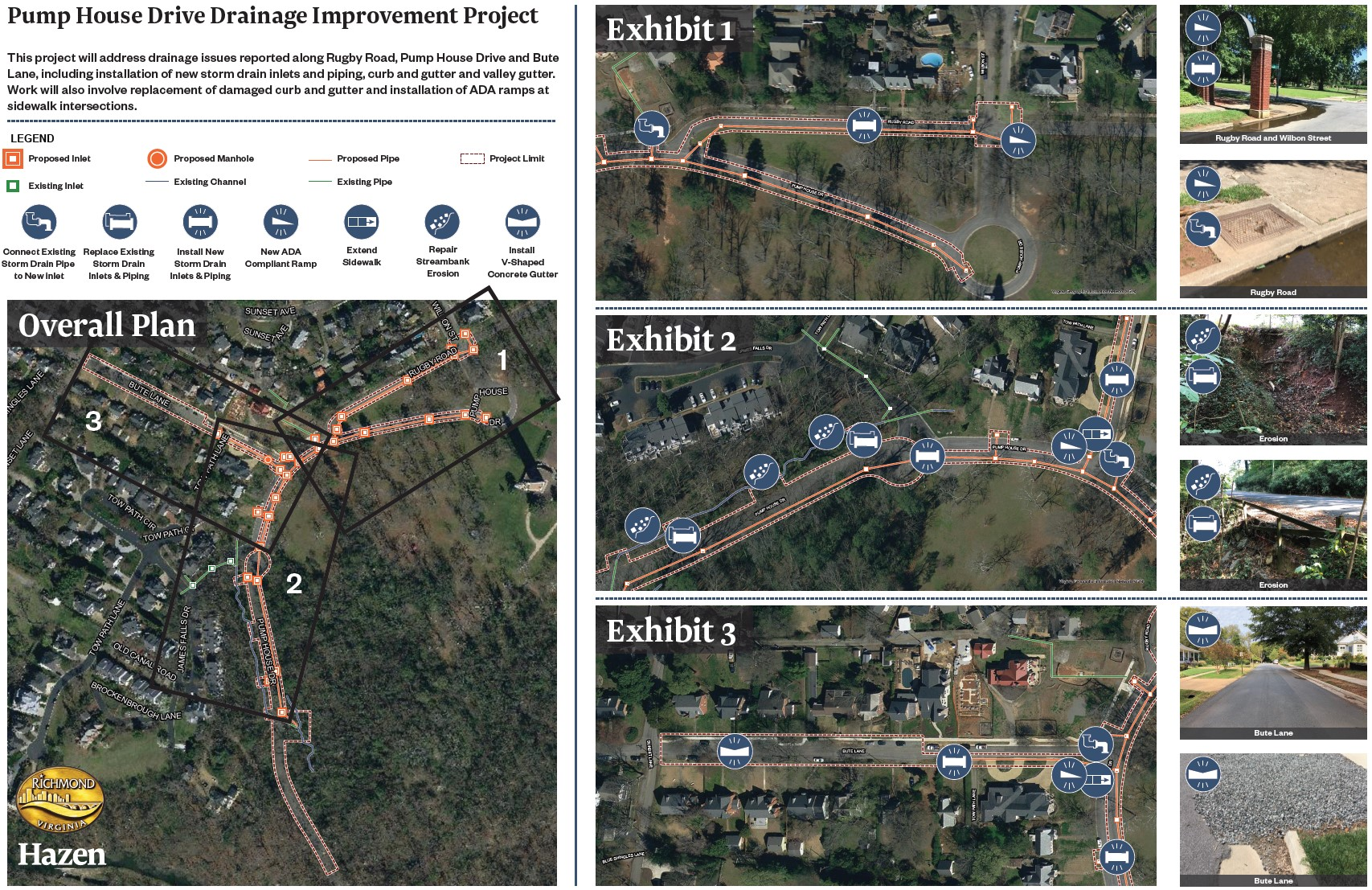Poster Board for Pump House Drive Drainage Improvement Project showing improvements to be made.